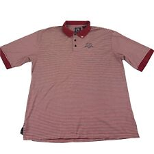 AT&T National Golf Polo Shirt Men's Large Ahead Red White Striped Golfing Adult
