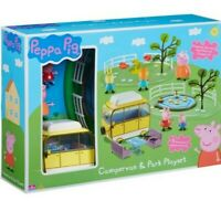 New Peppa Pig Campervan & Park Playset, 5 Articulated Figures Included, see-saw