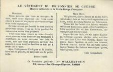 Carte LE VETEMENT DU PRISONNIER DE GUERRE 1914-1918 - Mme WALLERSTEIN