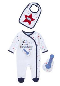 BNWT, X3 Pce, All-In-One, Sleepsuit, Bib, Toy, Size 0000, Newborn, Cotton,