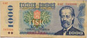 1985 Czechoslovakia 1000 Korun Banknote .