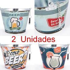 Pack 2 Cubos de metal con Abrebotellas Vintage,altura 19 cm,diámetro 23,5 cm