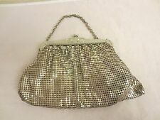 """Vintage PURSE Whiting & Davis METAL MESH, Style 2969 Silver Color, USA 11"""" Chain"""