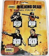 The Walking Dead Official AMC 4 Enamel Pin Set RICK MICHONNE DARYL DIXON ZOMBIE