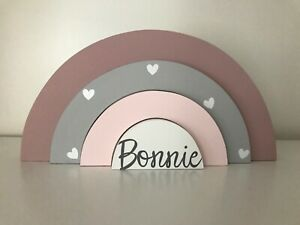 Personalised Wooden Rainbow Stacker Girl Boy Nursery Bedroom Decor Shelfie
