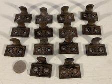 Set 14 small antique vtg Victorian decorative cast iron hook sash lifts
