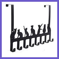 Over The Door Hook Hanger Heavy Duty Organizer Rack For Towel Coat Bag BLACK Cat