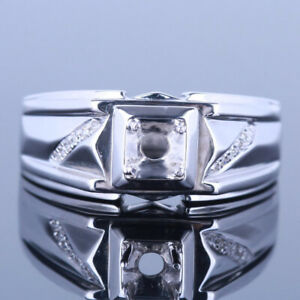 4.5mm Round Men's Jewelry Engagement & Wedding Sterling Silver Diamond Band Ring
