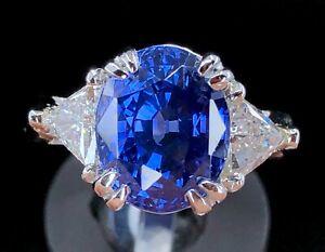 GIA 7.56 ct Color Change Sapphire & Trillion Cut Diamond Platinum 3-Stone Ring
