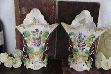 Pair French vieux paris porcelain Vases Grape clusters floral decor 1920