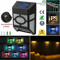 Solar Power Wall Fence LED Light Outdoor Garden 2 Model RGB+White Night Lighting