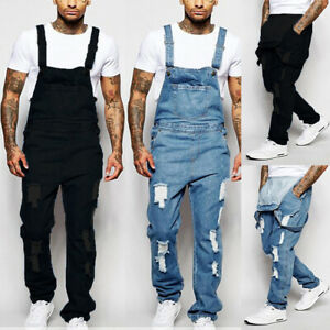 Mens Denim Dungaree Overalls Pants Trousers Bib Ripped Cargo Work Jeans Jumpsuit