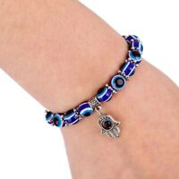 EVIL EYE BEAD BRACELET 10mm Stretch Good Luck Protection Glass Lampwork Kabbalah