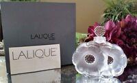 Beautiful!! LALIQUE Paris Crystal DEUX Flowers Perfume Bottle, Signed - with Box