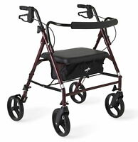 Medline Heavy Duty Steel Bariatric Rollator, 500 lb Weight Capacity, Burgundy