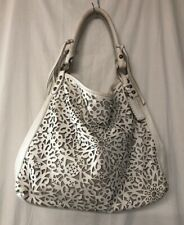 Isabella Fiore White Leather Laser Cutout Tote Handbag Large / Oversized