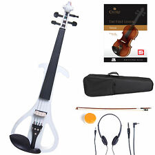 Cecilio Size 4/4 Electric Violin Ebony Fitted ~ White Style4