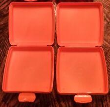 2 New Orange Tupperware Sandwich Keepers ~ Pack Lunches & Keep Fresh