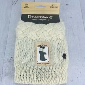 Bearpaw Womens Cable Knit Boot Topper Ivory Mixed Knit Braided OSFM NWT New