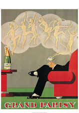 VINTAGE CHAMPAGNE ART PRINT - GRAND PARISY Nude Dancer Wine Bar Poster 27.5x39.5
