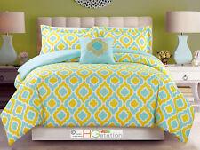 4-Pc Flocking Moroccan Trellis Quatrefoil Comforter Set Yellow Blue White Queen