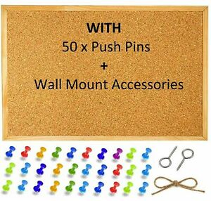 Cork Pinboard Notice Pin Board Wooden Frame Office Memo School PLUS 50 Push Pins