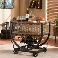 Rolling Bar Cart Industrial Rustic Wine Service Glass Rack home Furniture Wood