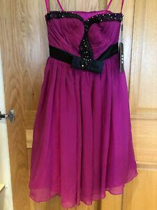 Purple Jewel Flowy Dress with Bow Detail