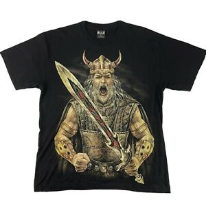 WILD Glow In The Dark Viking Warrior T-Shirt Tee Double Sided Size L