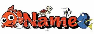 Iron on Transfer PERSONALISED NEMO DORY clown fish turtle 20x6cmfinding