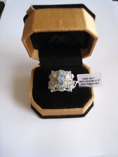 Very Attractive Sterling Silver Square Pearl Coloured Stones Reflective Ring