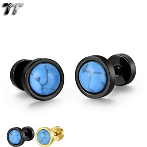 TT 8mm Surgical steel Round Blue Turquoise Earrings Screw Back (BE291)2021