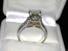 2.44 cts Cushion Cut Solitaire Diamond Engagement Ring Solid 14k White Gold