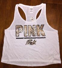 Victoria's Secret PINK Bling High-low Tank Top Shirt White Summer 2015 M Sequin