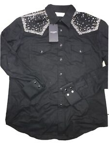 """SAINT LAURENT STUD AND STAR EMBELLISHED SHIRT 15 3/4"""" (40) COLLARED RRP £1492"""