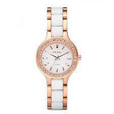 NEW DKNY NY8141 LADIES WHITE AND ROSE GOLD CERAMIC WATCH - 2 YEAR WARRANTY