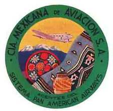 Pan Am Airlines  Mexico  1950's  Vintage-Looking Travel Sticker / Luggage Label
