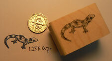 "P14 Gecko rubber stamp miniature WM 1x0.7"""