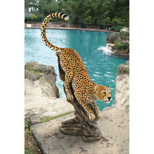 African Savannah Muscular Cheetah Sculpture Garden Statue Exotic Wildlife Cat