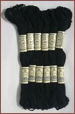 6 Negro Mantequilla Fly Madejas Punto de Cruz Hilos Hilo - Sólido Colores Negro
