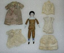 "Antique China Shoulder Head & Legs Bisque Arms Print Cloth Torso 7"" German Doll"