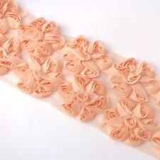 10 Shabby Chiffon rose flower trim in Peach For millinery , hair ,crafts