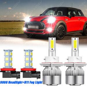 For Mini Cooper 2009 2010-2017 6000K LED Headlight+Fog Light Combo 4x Bulbs Kit