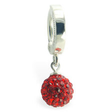 TummyToys Sexy and Dazzeling Rich Red Crystal disco Ball Silver Belly Ring