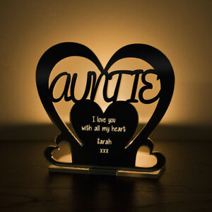 Personalised Tea Light Heart Candle Holder For AUNTIE Birthday Mother's Day Gift