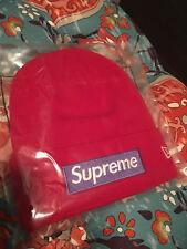 Supreme F/W 2017 New Era Box Logo Beanie RED RARE Color Camp Cap Hat NYC