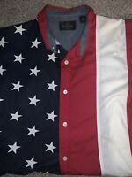 RedHead Mens 90s Vintage American Flag Short Sleeve Button Up Shirt Size XL EUC