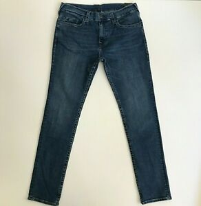 True Religion Mens 36 x 34 Rocco Stretch Relaxed Skinny Blue Jeans Pants 104413