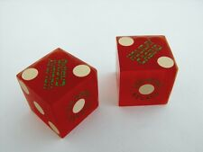 Pair Holiday Casino Vintage Las Vegas Craps Dice Green Fancy Logo