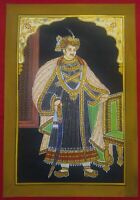 Hand Painted Gold Work Maharaja Portrait Miniature Painting Fine Detailed India